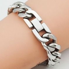 21cm 13mm Cool Fashion High Quality Stainless Steel Pop Punk Rock Style Round Chain Link Bracelet Men Jewelry AB713 - http://jewelryfromchina.com/?product=21cm-13mm-cool-fashion-high-quality-stainless-steel-pop-punk-rock-style-round-chain-link-bracelet-men-jewelry-ab713