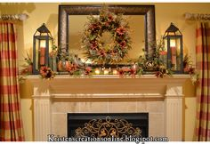 Fall-- beautiful fall mantle and centerpieces. Lovely siteThinking Fall-- beautiful fall mantle and centerpieces. Fall Fireplace, Fireplace Mantels, Fall Mantels, Autumn Mantel, Fireplace Ideas, Mantel Shelf, Brick Fireplaces, Autumn Table, Farmhouse Fireplace