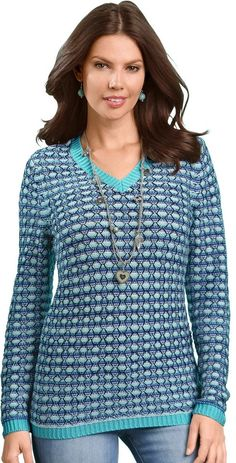 Classic Basics Pullover mit spezieller Netzstickerei für 22,99€. Auf links gestrickter Pullover, Polyacryl, Figurumschmeichelnde Form, Langarm bei OTTO