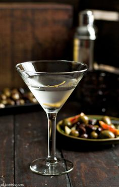 vesper cocktail + citrus and chilli marinated olives