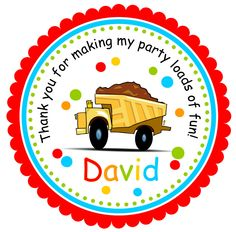 Dump Truck Stickers, Personalized Labels   - set of 12