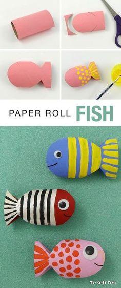 Mit Klopapier-Rollen kleine Fische basteln. Für Kleinkinder bestens geeignet