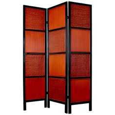 Have to have it. Oriental Furniture Tainan Screen Room Divider-Red Woven Rattan - $319 @hayneedle.com