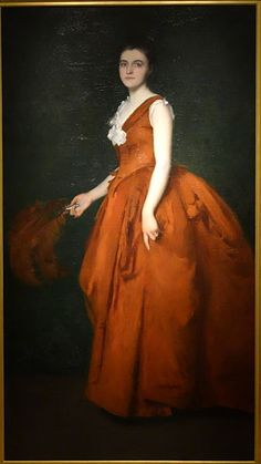 Portrait of Madam T by Edmund C. Tarbell, oil on canvas - New Britain Museum of American Art. Intriguing tobacco coloured-dress, with matching fan. 1880s Fashion, Women's Fashion, New Britain, Oil Portrait, National Gallery Of Art, Camille Pissarro, Girl Reading, Museum Of Fine Arts, Edouard Manet