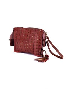 THE LOSER PROJECT Brick red clutch bag with studs double slider zipper with horn pendant 100% Leather