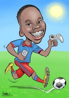 gamen, voetbal, voetballen, voetbalveld, karikatuur, sandorpaulus, karikatuurtekening, beugel, xbox