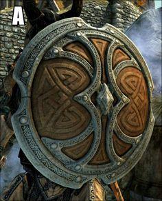 Skyforge Shields at Skyrim Nexus - mods and community Escudo Viking, Fantasy Armor, Fantasy Weapons, Medieval Fantasy, Skyrim Nexus Mods, Skyrim Mods, Viking Shield, Viking Art, Concept Weapons