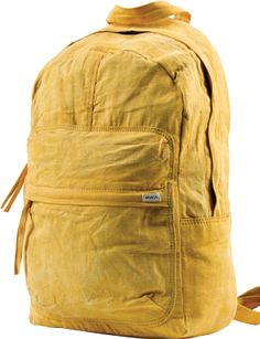 The RVCA Scout Backpack is a washed canvas backpack. The backpack has a hooded zipper closure at the main compartment with self-canvas zipper pulls, a . Backpack Bags, Canvas Backpack, Yellow Backpack, Summer Music Festivals, Festival Accessories, Mellow Yellow, Color Yellow, Mustard Yellow, Backpacks