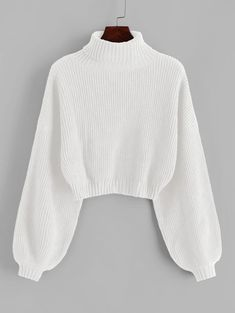 Feb 2020 - Turtleneck Long Lantern Sleeve Cropped Sweater Roll Neck Drop Shoulder – GaGodeal Cropped Pullover, Cropped Tops, Cropped Sweater, Pullover Sweaters, Pullover Pullover, White Turtleneck, Long Sleeve Sweater, Girls Fashion Clothes, Teen Fashion Outfits