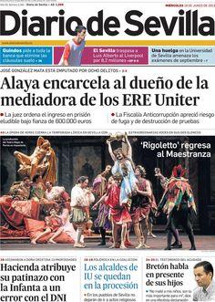 Los Titulares y Portadas de Noticias Destacadas Españolas del 19 de Junio de 2013 del Diario de Sevilla ¿Que le parecio esta Portada de este Diario Español?