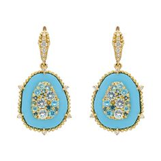 """Judith Ripka Turquoise & Gem-Set Drop Earrings~Judith Ripka """"Oasis"""" Turquoise & Gem-Set Drop Earrings  """"Oasis"""" drop earrings, with a cluster of various sized blue topaz surrounded by turquoise and accented by round-cut diamonds. #Gems #Jewelry"""