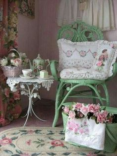 Shabby Chic - Green Wicker Chair with pink Floral Rug, Pillows and Tea Set