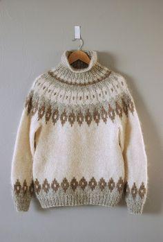 gorgeous lopi sweater via garment house [colorwork / fair isle] Pullover Design, Sweater Design, Fair Isle Knitting Patterns, Knit Patterns, Pull Jacquard, Icelandic Sweaters, Knitwear Fashion, Pulls, Hand Knitting