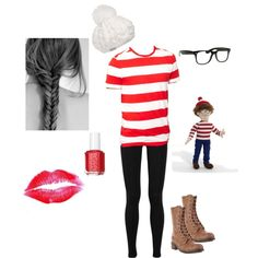 Hunted - Where's Waldo Halloween Outfit!  SUPER easy... just gotta find a red & white stripped long sleeve
