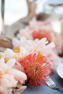 i love the idea of protea as a centerpiece table runner for our weddings in the caribbean