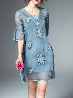 Light Blue Beaded Shift Sleeve Floral Embroidered Mini Dress With Camis Dress Brukat, Organza Dress, Lace Dress, Party Dresses For Women, Mini Dresses, A Line Gown, Embroidery Fashion, Blouse Designs, Clothes For Women