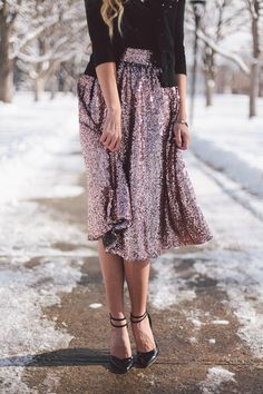 sequin skirt makes a cute holiday outfit