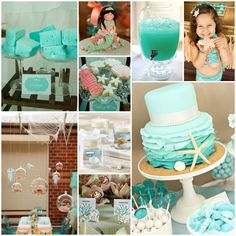 Perfect for Evie's 3rd birthday party in June: Under the Sea Party - gumballs, lollipops, seashell candies, coral, starfish ...