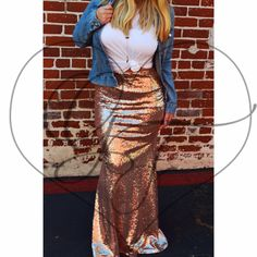 Rose Gold Stretch Sequin Maxi Skirt Party // by GlitterFoxLA