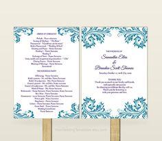 Diy designer fan wedding program kit fan wedding programs teal wedding program fan template by yourweddingtemplates on etsy solutioingenieria Image collections