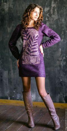 """Купить Туника-платье """"Базилик"""" - комбинированный, цветочный, туника валяная, короткое платье"""