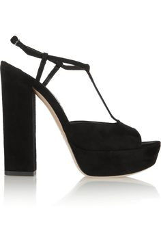 Miu Miu|Suede T-bar platform sandals|NET-A-PORTER.COM