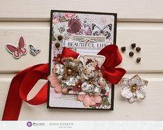 Riikka Kovasin - Paperiliitin: Beautiful life - Prima Marketing Different Media, Prima Marketing, Life Is Beautiful, Mosaic, Bloom, Gift Wrapping, Pretty, Design, Gift Wrapping Paper