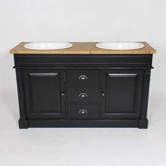 Meuble salle de bain bois massif Noir et Ciré 2 vasques, 2 portes, 3 tiroirs - Made In Meubles Chico California, Deco, Bathroom, House Styles, Design, Jeans, Bathroom Gray, Wall Tiles, Washroom