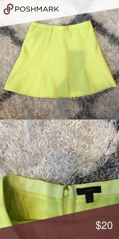 J Crew Lime Yellow Skater Skirt Cute bright J Crew yellow Skirt. A line shape. True to size. Hem ends mid thigh J. Crew Skirts Circle & Skater