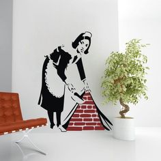 Graffiti Street Art Canvas Banksy Maid In London Wall Decal wall sticker mural #ColorfulHall #comtemporary
