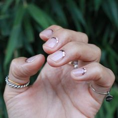 This reverse French manicure in metallic is an easy nail art design for the holidays