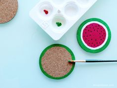 Get ready for summer with these fruit coasters! Check out this fun DIY craft by Design is Yay.