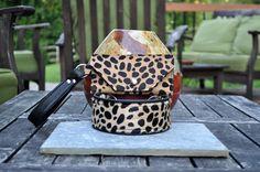 Hair-on leopard cowhide collar and wristlet set  www.sexybeastdogcollars.com