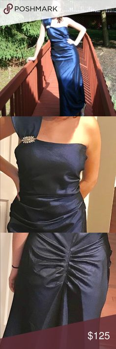 """Blue iridescent gown Beautiful one shoulder gown. Great for proms, weddings, formal events. Only has been worn once.  Measurements  Armpit to armpit is 16"""" Waist is 28  Length 63 """"  Size 10 true to size. Great condition. Night Way Collections Dresses One Shoulder"""