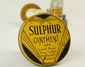 Vintage Sulphur Ointment Tin Chemist Pharmacy Apothecary Medical British Pharmaceutical Advertising