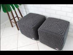 My Crochet Dream Diy Crochet Bikini, Crochet Pouf, Knitted Pouf, Crochet Potholders, Crochet Motifs, Tunisian Crochet, Diy Puffs, Braidless Crochet