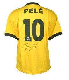 c84b7b9a701 Soccer Memorabilia · Pele Autographed Brazil Jersey - PSA DNA Certified  Authentic - SportsMemorabilia.com Brazil Players