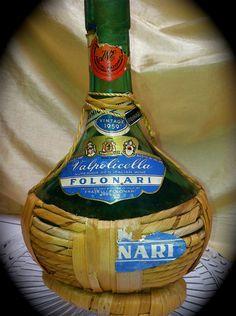 Raffia Wrapped 1959 Folinari Wine Bottle  by ScarlettsFancies, $14.00