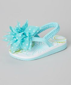 Look what I found on #zulily! Turquoise & White Polka Dot Flower Sandal by Baby Deer #zulilyfinds