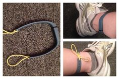 How to wear your Fitbit Flex on your ankle. Push a skinny elastic hair tie through the last hole on either side, then tie then together to attach around your ankle...   I tested it every direction possible and personally found this to be the most accurate overall -- tracker on the outside of your ankle, with the lights towards the back. Note: I only recommend doing this temporarily in a single location (i.e. on an elliptical or stationary bike) so you don't risk losing it somewhere.