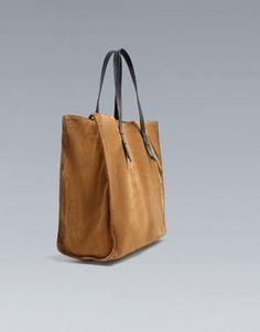 BASIC SUEDE SHOPPER - Handbags - Woman - ZARA United States