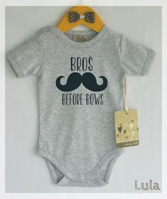 Funny baby boy clothes. Bros before bows baby romper. Baby boy cute clothes. Many colors available. by HandmadeByLula on Etsy https://www.etsy.com/listing/230351756/funny-baby-boy-clothes-bros-before-bows