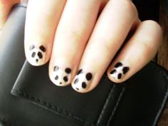 Free tutorial with pictures on how to paint an animal nail in under 15 minutes by nail painting and nail painting with nail polish, nail polish, and toothpick. Inspired by pandas and pandas. Love Nails, Fun Nails, Pretty Nails, Panda Nail Art, Fingernails Painted, Girly Things, Girly Stuff, Random Stuff, Nail Envy