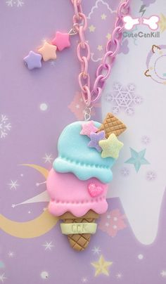 Kawaii pastel icecream cone ice cream sweets fairy kei polymer clay