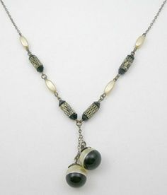 Art Deco Pearl/Black Negligee Necklace - Garden Party Collection Vintage Jewelry