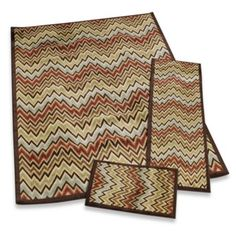 This set of three rugs is great for carrying a theme throughout your home, and is versatile enough to be used in any room. The modern yet sophisticated pattern is a vibrant flamestitch. Room Size Rugs, Wedding Gift Registry, Patio Rugs, Take Me Home, Bedding Shop, Fine China, Gifts For Dad, Nova, Pattern