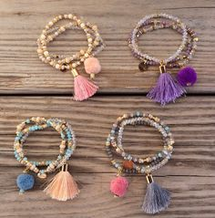 OOAK SET: 3 beaded bracelet in pastel colors with tassel and pompom I really like these bracelets, minus the pompoms. Diy Tassel, Tassel Jewelry, Beaded Jewelry, Jewelery, Jewelry Bracelets, Handmade Jewelry, Jewelry Trends, Jewelry Accessories, Jewelry Design