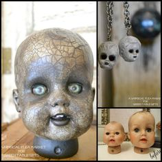DIY Halloween Doll Heads Tutorial from Green Table. I see these altered doll heads a lot, but rarely with a tutorial. TIP: When using crackle medium read the instructions or go online to get the size cracks you want. Also seal it or patches will flake off (from personal experience). For more creepy DIY dolls go here: halloweencrafts.tumblr.com/tagged/dolls For one of the creepiest doll DIYs: the DIY Doll Serving Serving Dishes Tutorial go here.