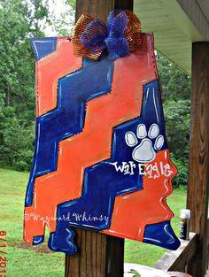 AUBURN  War eagle STATE of AL Alabama Custom for you  Wood Cut Out Door Hanger