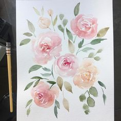 282 vind-ik-leuks, 2 reacties - michelle (@mlomisc) op Instagram: 'It's been a while since I just painted some loose florals so pretty pink flowers for today . .…'